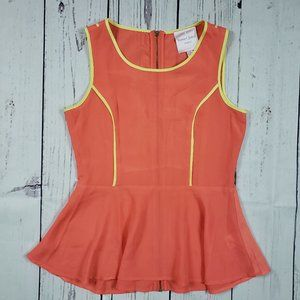 Romeo + Juliet Couture Orange Peplum Top Size XS